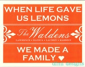Family Name customize-able  8 1/2 x 11 frameable typography  print  (perfect for blended families)