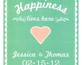 HAPPINESS LIVES HERE customizable 8 x 10 frame able love print