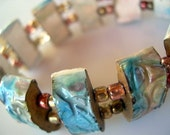 Alcohol inked polymer clay elastic bracelet in turquoise