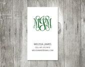 Curly Monogram Calling Card, Simple Monogram Business Cards, Set of Fifty Cards, Set of 100 Cards, Elegant Monogram Calling Cards