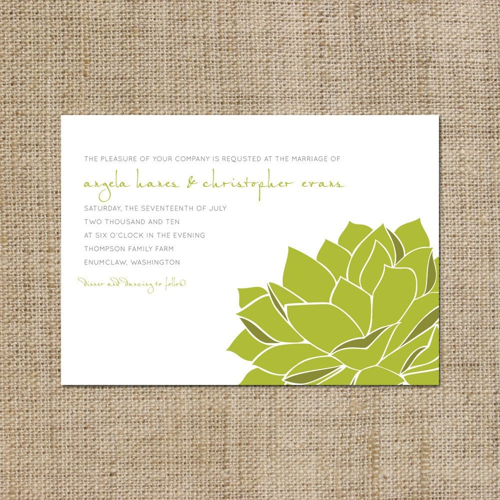 Sweet Succulent Wedding Invitation