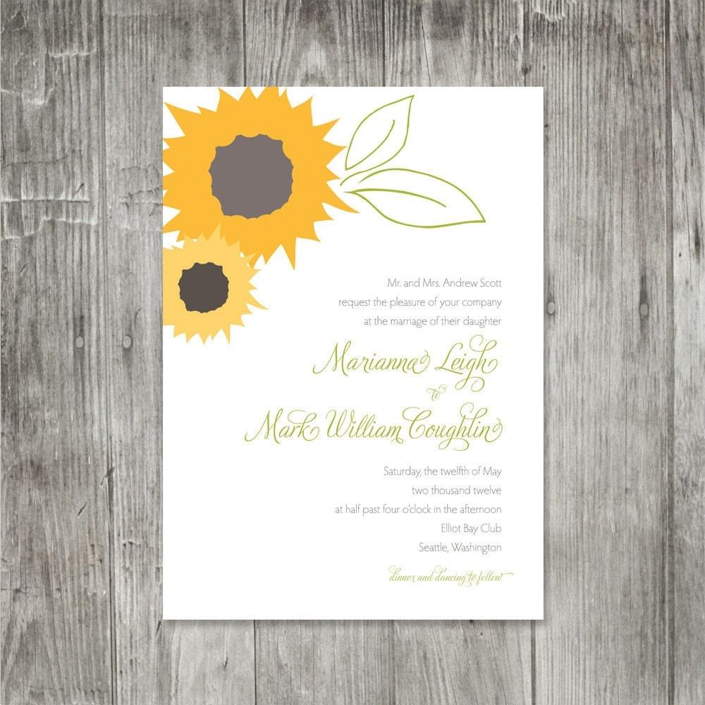 sunflower wedding invitations etsy - 28 images - sunflower wedding ...