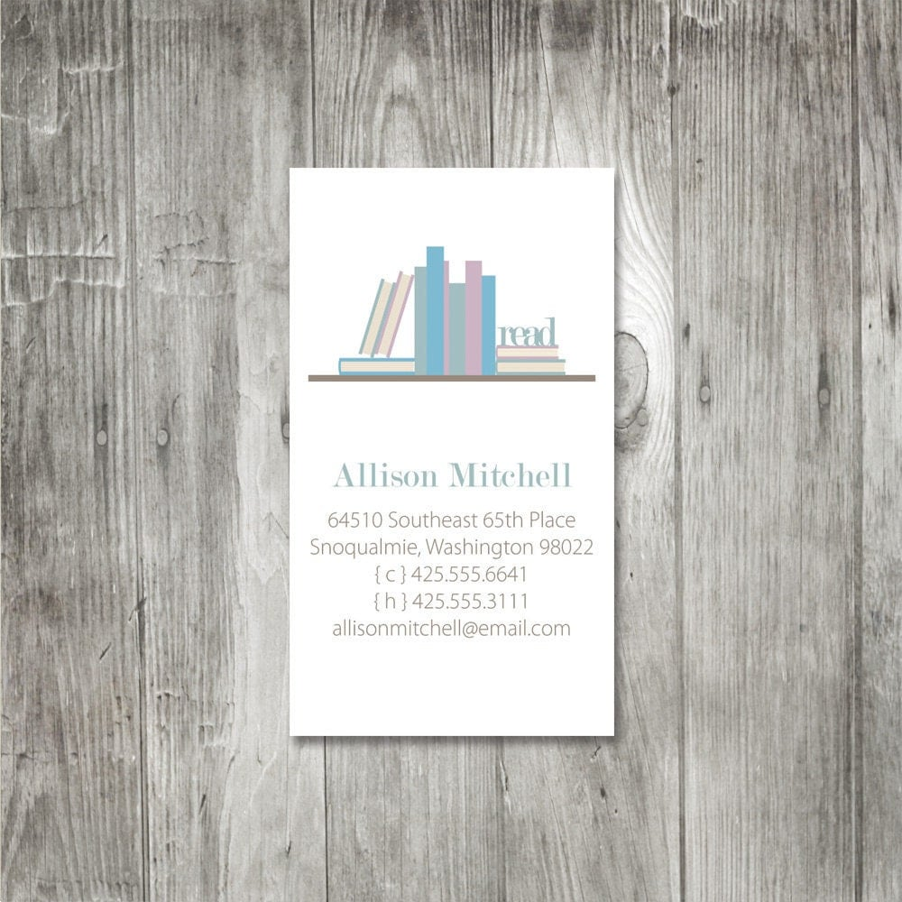 Book Lover Calling Cards, Business Cards, Bookworm Cards, Set of ...