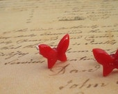 Red Lucite Butterfly Earrings
