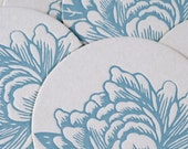 Letterpress Coasters : Sea Blue Blossoming Flower Coasters - box of 8 coasters in kraft box
