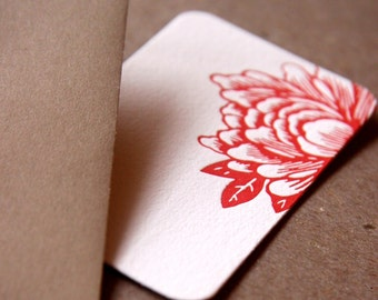 Letterpress Gift Notes or Gift Cards, Stationery : Scarlet Red Blossoming Flower Mini Notes - 5 tiny flat cards w kraft colored envelopes
