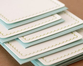 Letterpress Stationery : Edamame Simple Scallop Notes, box set of 50 medium flat cards w envelope color choice
