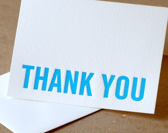 Letterpress Thank You Cards : True Blue Modern Block Thank You Notes - box of 75 small folded cards w envelope color choice