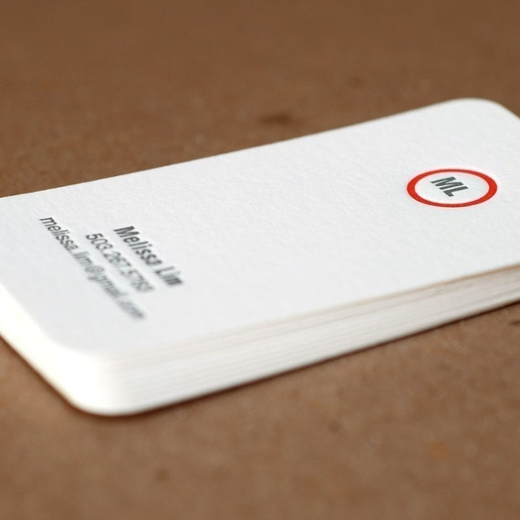 Letterpress Business Cards Modern Circle Personalized