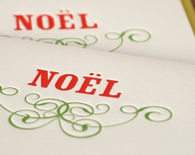 Letterpress Holiday Cards : Scarlet Red and Vine Green Noel Holiday Cards, large folded cards w chartreuse green envelopes