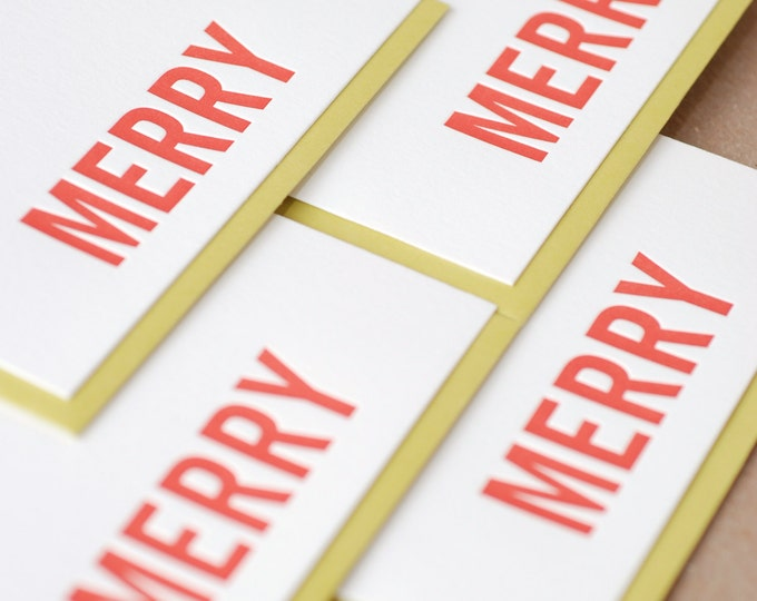Letterpress Holiday Card Set : Fire Red Merry Holiday Cards, box set of 50 small folded cards w envelope color choice
