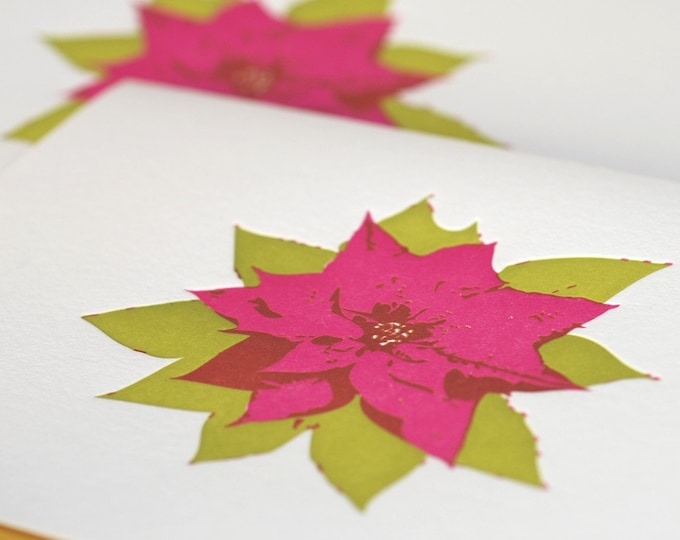 Christmas Card Set, Letterpress : Magenta & Pear Green Poinsettia Holiday, box set of 5 large folded cards with mustard yellow envelopes