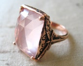 Rose Gold Over Pink Silver Dragonfly Ring