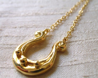 Lyre Necklace in 14kt Gold Plated Bronze