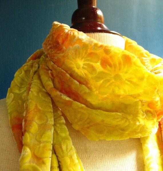 Lemon and Clementine Velvet Devore Fringed Scarf