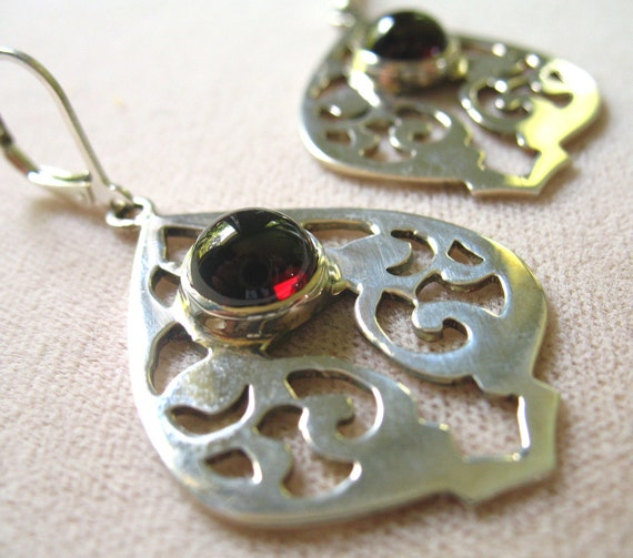 SALE Arabesque Earrings- Garnet and Sterling Silver
