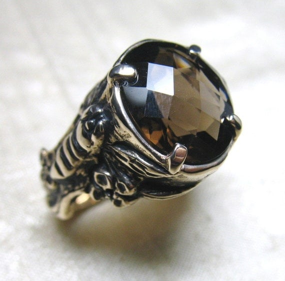 The Bee Ring- Smoky Quartz and Bronze