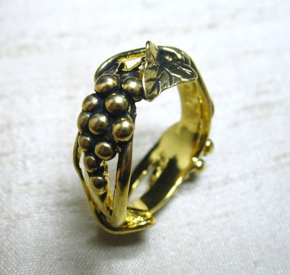 SALE- Grapevine Ring in Gold Covered Bronze