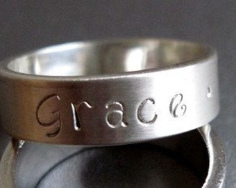 Custom Hand Stamped Sterling Silver Ring Band - 6mm wide - size 8 -Personalized Ring-Personalized Band-Wide Ring-Wide Band-Hand Stamped Ring
