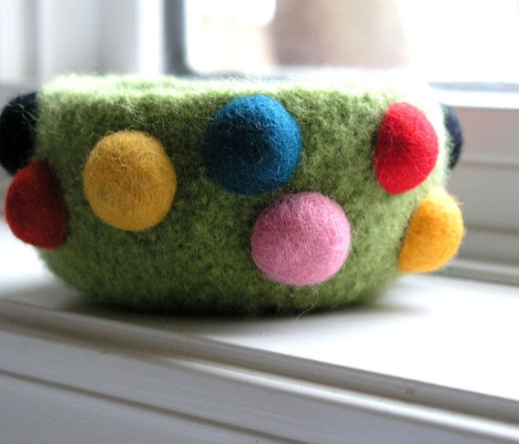 Felted bowl with raised colorful dots...Green