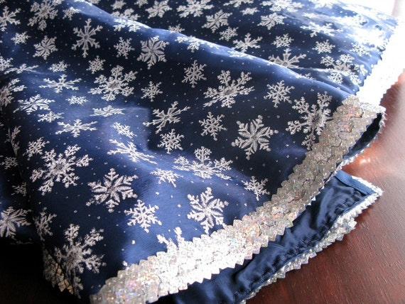 cobalt blue and silver snowflake tree skirt