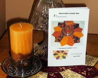Reversible Candle Mat Pattern with Rulers Included; Small Quilt Pattern, Minature Quilt Pattern, Placemat Pattern