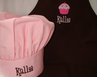 Personalized Pink kids Apron and Chef Hat Set monogram embroidered Great Christmas Gift