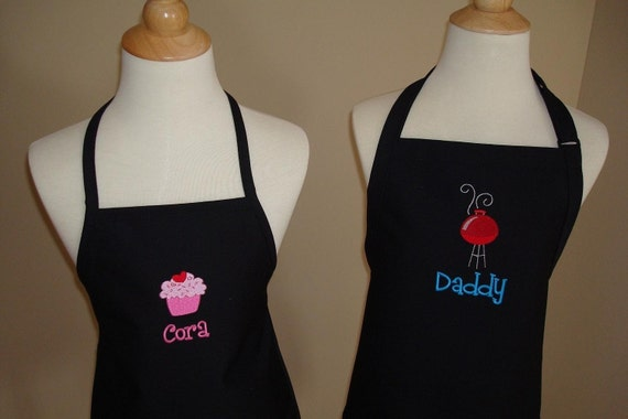 Personalized Daddy and Me Son or daughter Apron Set  GREAT fathers day gift