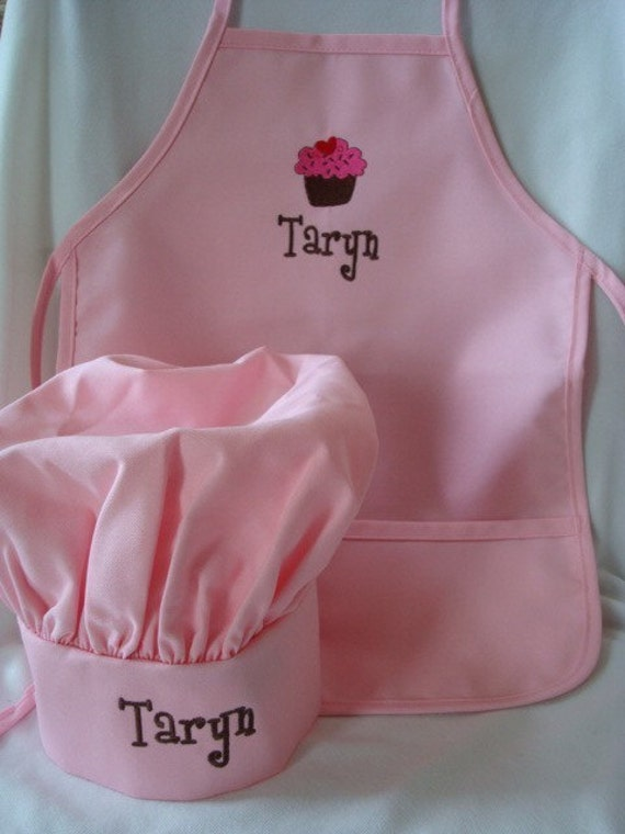 personalized pink kids apron and chef hat set. Black Bedroom Furniture Sets. Home Design Ideas