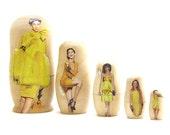 SALE Bananas, Set of 5 Nesting Dolls