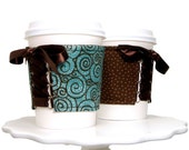 Aqua Chocolate Swirl Cup Cozy - This Cozy is Reversible and Adjustable