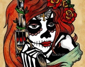 Day of the Dead LA ADELITA with PISTOL Print - Free Shipping