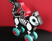 RESERVED for margotmountainmaidu - Day of the Dead WINGED CAT Wood Toy Vintage Style