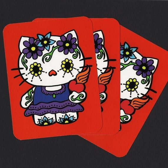 DAY OF THE DEAD KITTY Set of 3 Postcards - Free Shipping