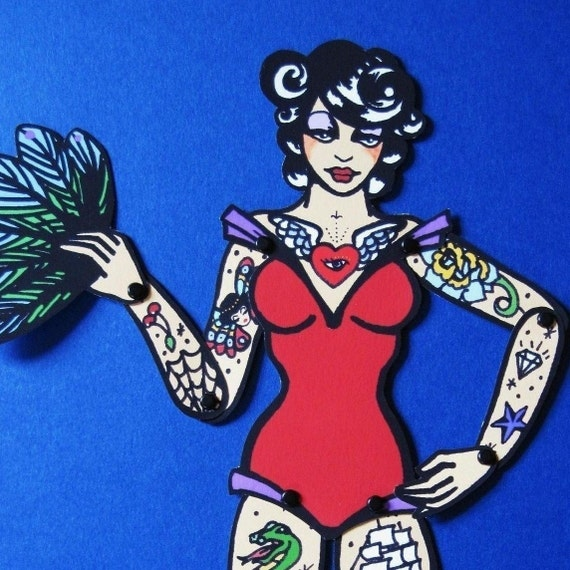 Vintage Circus TATTOOED LADY Posable Paper Doll - Cut and Assemble - Free Shipping