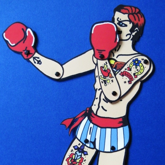 Vintage Circus TATTOOED BOXER Posable Paper Doll - Cut and Assemble - Free Shipping