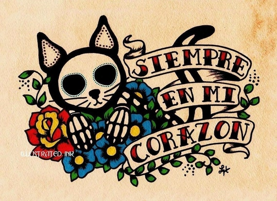 Day of the Dead SIEMPRE Cat Print - Donation to the Humane Society - Free Shipping