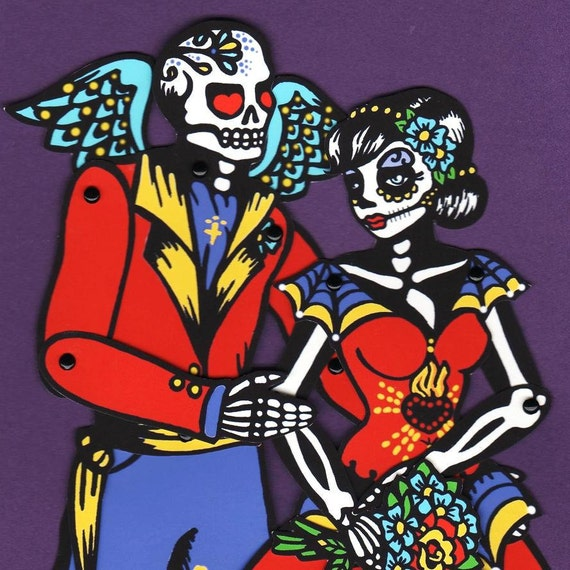 Day of the Dead WEDDING Bride and Groom Paper Doll Couple
