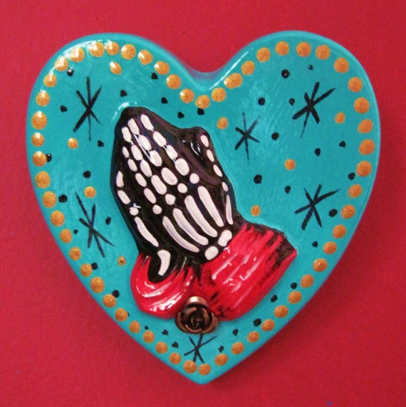 Day of the Dead SKELETON HANDS Praying Heart - Teal and Red