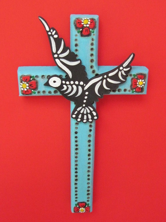 Day of the Dead CROSS with SKELETAL DOVE - Blue with Wood Burned Flowers