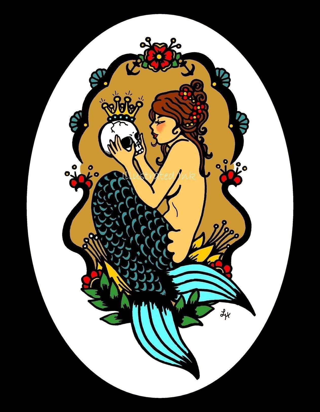 old school victorian tattoo mermaid and skull print free. Black Bedroom Furniture Sets. Home Design Ideas