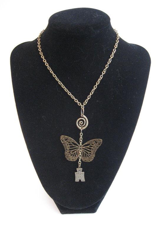 Asian butterfly necklace OOAK