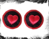 Velvet Heart and Sequins Nipple Pasties, Burlesque, Strip, various colours available