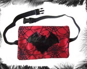 Bat and Spider Web Gothic Clubbing Hip Purse, Unisex, many colours available