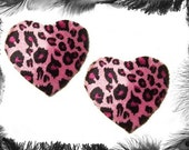 Leopard Print Heart Nipple Pasties, Burleque Wear, in 3 sizes and 3 colours