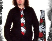 Skulls and Roses Print Tie, Rockabilly, Psychobilly Style