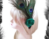 Peacock Feathers and Green Satin Rose Burlesque Fascinator