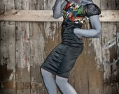 Horror Monsters Wiggle Dress, Gothic, Psychobilly Dress, Kaufman fabric
