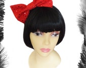 Big Hair Bow Sequins, Glam, sparkle, available in red, pink, black, silver, green, purple