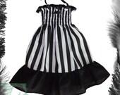 Baby Stripes Bat Summer Dress, Baby Goth